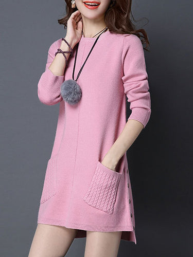 Round Neck  Slit Pocket  Plain Shift Dress