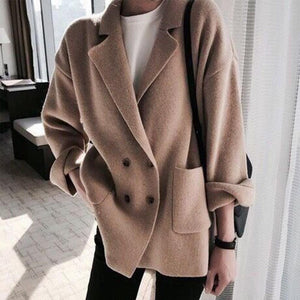 Lapel Coat Button Sweater Roll Sleeve Knitwear