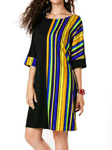 Multicolor  Vertical  Striped    Loose  Dress