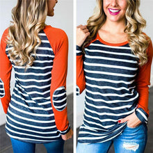 Striped Stitching Round Neck Long-Sleeved T-Shirt Bottoming Shirt