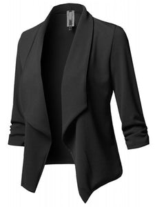 Fold Over Collar  Plain Blazer