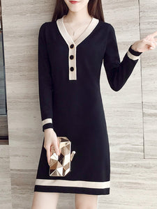 V-Neck  Decorative Hardware  Color Block Shift Dress