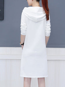 Hooded  Slit Pocket Shift Dress