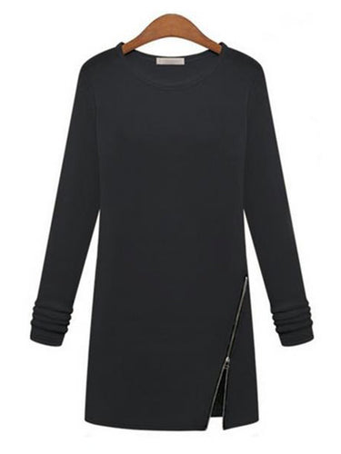 Round Neck  Zipper  Plain Shift Dress
