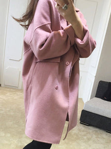 Fold-Over Collar  Double Breasted Flap Pocket  Plain  Long Sleeve Coats