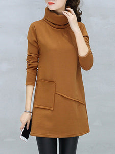 High Neck  Slit Pocket  Plain Shift Dress