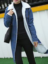 Fold Over Collar  Plain  Cuffed Sleeve Coat
