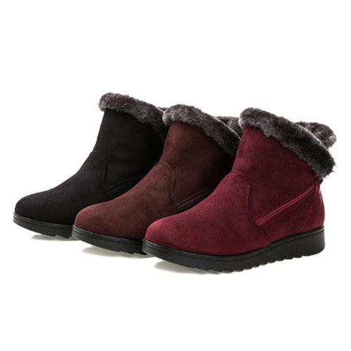 Plain  Flat  Velvet  Round Toe  Casual Outdoor  Short Flat Boots