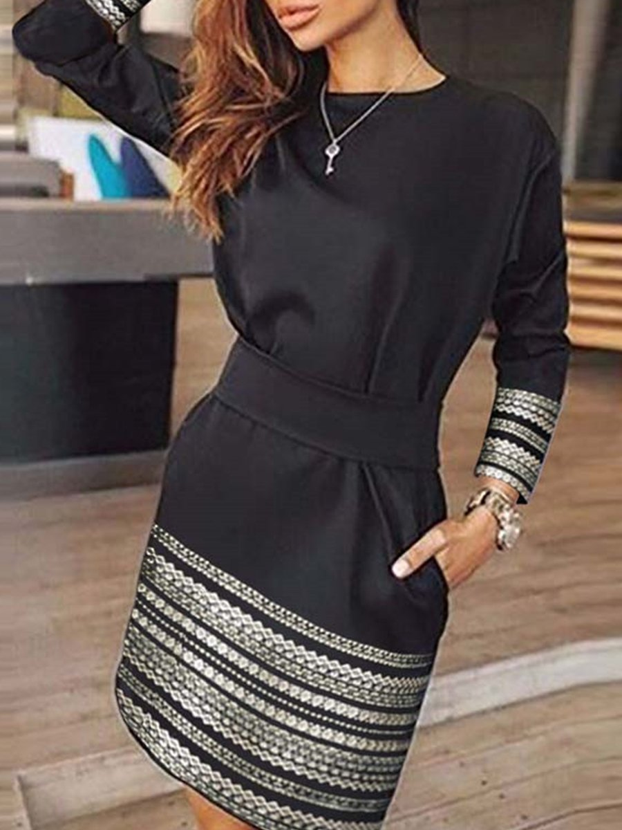 Round Neck  Patch Pocket  Printed Bodycon Dress