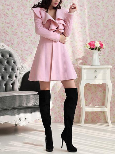 Slim Fit Long Thick Wool Coat