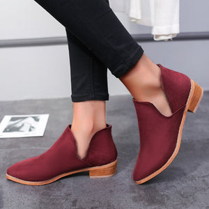 Plain  Flat  Velvet  Point Toe  Date Outdoor  Ankle Ankle Boots