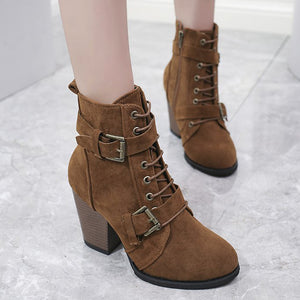 Plain  Chunky  High Heeled  Velvet  Round Toe  Date Outdoor  Short High Heels Boots