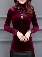 High Neck  Plain Long Sleeve T-Shirts