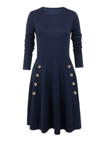 Round Neck  Decorative Buttons  Plain Skater Dress