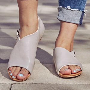 Plain  Flat  Peep Toe  Casual Date Flat Sandals
