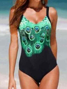 V Neck  Print One Piece Swimwear