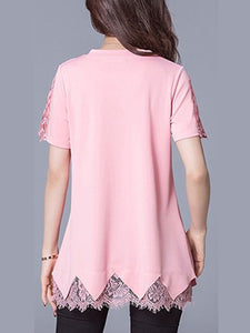 Round Neck  Patchwork  Lace Plain Blouses