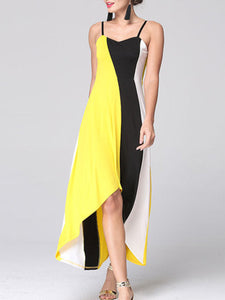 Spaghetti Strap  Asymmetric Hem  Color Block Maxi Dress