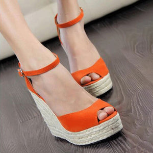 Plain Velvet  Peep Toe Casual Date Wedge Sandals