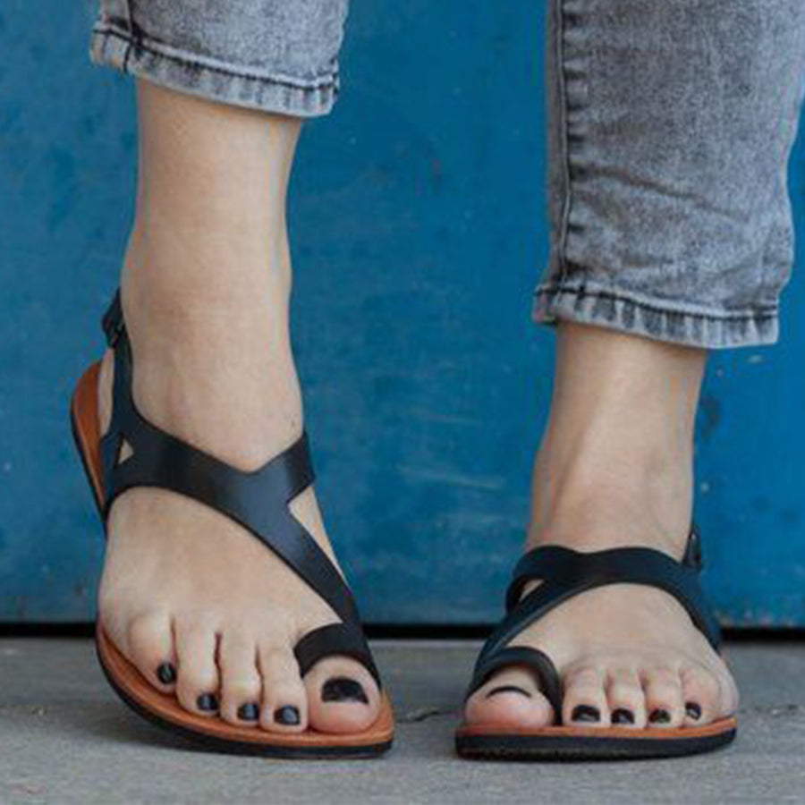 Plain Flat Peep Toe Casual  Flat Sandals