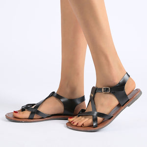 Plain Peep Toe Casual Flat Sandals