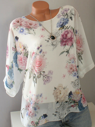 Round Neck  Loose Fitting  Print Short Sleeve T-Shirts