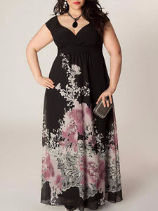 Plus Size Commuting V Neck Sleeveless High-Waist Printed Colour Dress
