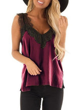 Plus Size Casual Lacework V Neck Sleeveless Braces Tank Top