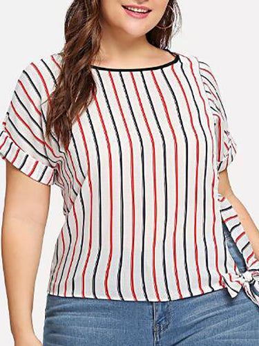 Plus Size Commuting Round Neck Striped Printed Colour T-Shirt