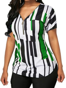 Plus Size Commuting V Neck Short Sleeve Zipper Printed Colour T-Shirt