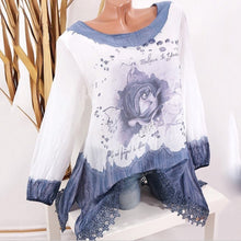 Plus Size Commuting Round Neck Long Sleeve Printed Colour Top