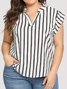 Stripe Stitching V-Neck Wharf Shirt