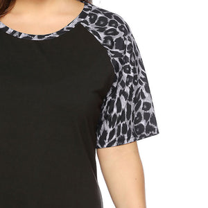 Leopard-Print T-Shirt With Round Collar And Middle Sleeve
