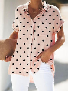 Turn Down Collar  Loose Fitting Patch Pocket  Dot Blouses