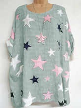 Round Neck  Loose Fitting  Star  Batwing Sleeve Blouses