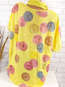 Round Neck  Loose Fitting Patchwork Sequin  Polka Dot Short Sleeve T-Shirts