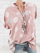 Band Collar  Patch Pocket  Polka Dot Blouses