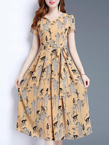 V Neck  Floral Printed Maxi Dress