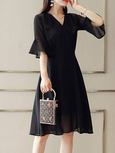 V Neck  Plain  Bell Sleeve Skater Dress