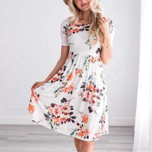 Printing Round Collar Fold Dress With Short Sleeves