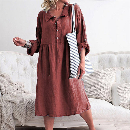 Polo Collar Long Sleeve Cotton Shirt Dress