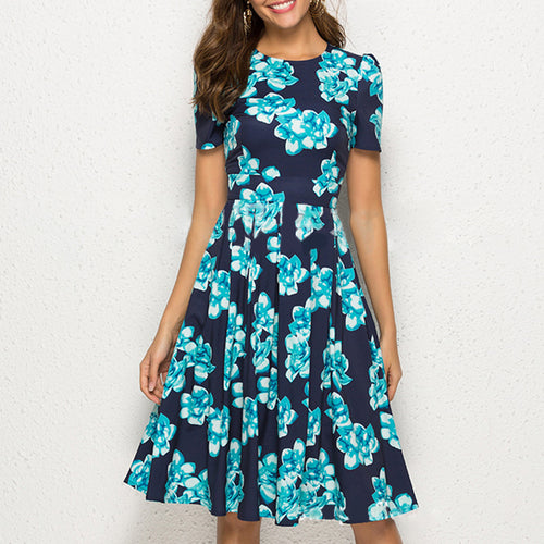 Casual Round Neck Short Sleeve Print Dress