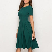 Fashion Crew Neck Pleated Solid Color Dress