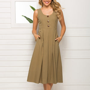 Classy Plain Pocket Sleeveless Dress