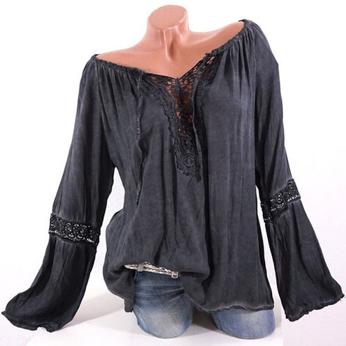 One-Neck Solid Color Lace Stitching Loose Blouse