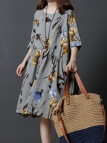 Casual Loose Large Size Fashion Big Flower Round Neck Dress