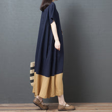 Fashion Round Neck Contrast Color Dress