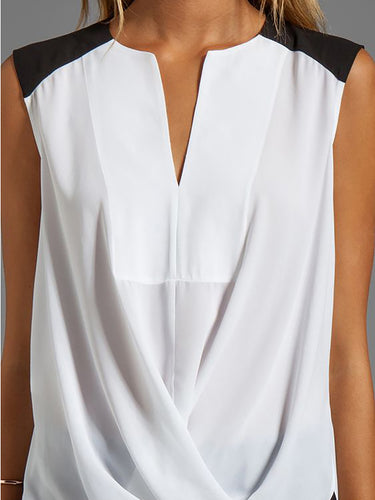 Sleeveless  Black And White Stitching Wide Shoulder Vest