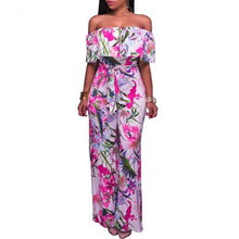 Flower Printed Strapless Collar Jumpsuit With Belt