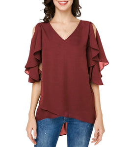 V-Neck Leaking Shoulder Ruffled Sleeves Slim Chiffon Top